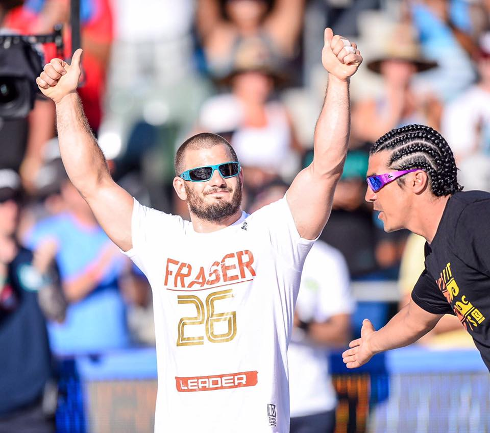 Mathew Fraser raises his arms to celebrate winning the 2016 Reebok CrossFit Games in Carson, Calif. (Photo courtesy of CrossFit Games Facebook page.)